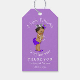 African american gift tags zazzle ethnic princess purple baby shower personalized gift tags negle Images