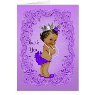 Ethnic Princess Thank You Baby Shower Purple Card
