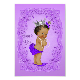 Ethnic Princess Thank You Baby Shower Purple Frame Card