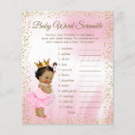 """Ethnic Princess Tutu Baby Shower Games<br><div class=""""desc"""">Ethnic princess baby shower games with baby word scramble on one side, and nursery rhyme quiz on the other. This adorable pink and gold princess baby shower game flyer is fun and economical! You can choose the size and paper style and you can add your own words and rhymes. Here...</div>"""