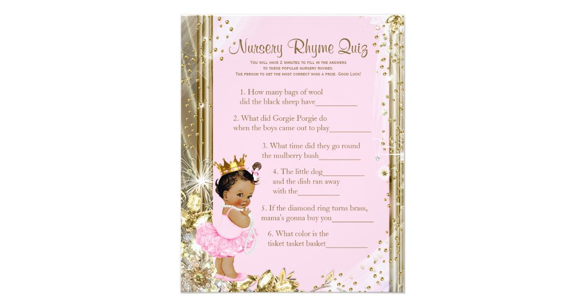 Ethnic Princess Tutu Baby Shower Games Flyer | Zazzle
