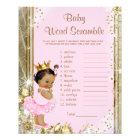 Ethnic Princess Tutu Baby Shower Games Flyer