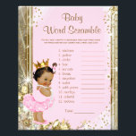 """Ethnic Princess Tutu Baby Shower Games Flyer<br><div class=""""desc"""">Ethnic princess baby shower games with baby word scramble on one side, and nursery rhyme quiz on the other. This adorable pink and gold princess baby shower game flyer is fun and economical! You can add yor own words and rhymes. Here are the answers to the games: Word Scramble Answers:...</div>"""