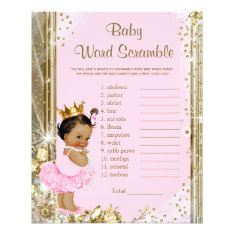 Ethnic Princess Tutu Baby Shower Games Flyer at Zazzle