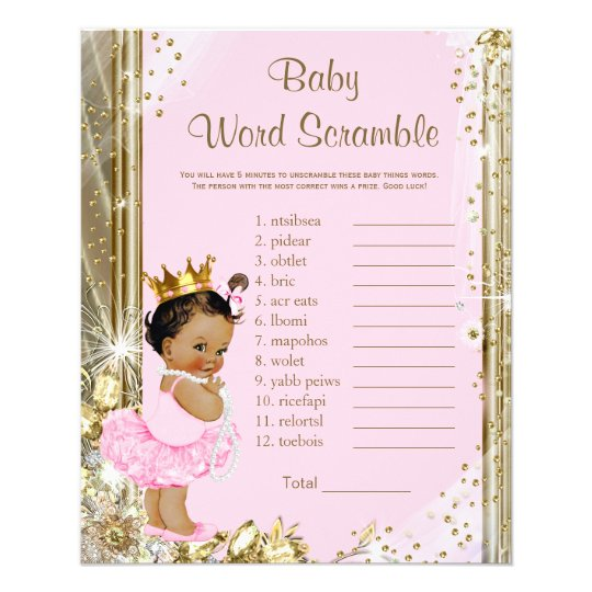 Ethnic Princess Tutu Baby Shower Games Flyer | Zazzle