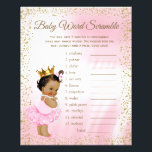 """Ethnic Princess Tutu Baby Shower Games Flyer<br><div class=""""desc"""">Ethnic princess baby shower games with baby word scramble on one side, and nursery rhyme quiz on the other. This adorable pink and gold princess baby shower game flyer is fun and economical! You can choose the size and paper style and you can add your own words and rhymes. Here...</div>"""