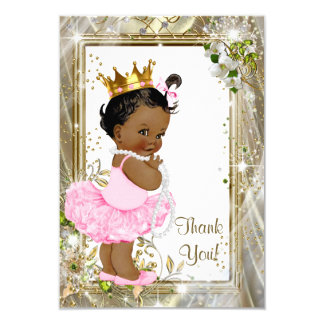 Ethnic Princess Tutu Baby Shower Thank You Card