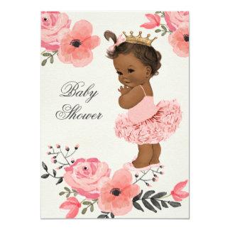 Ethnic Princess Tutu Floral Watercolor Baby Shower 5x7 Paper Invitation Card