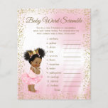 """Ethnic Princess Tutu Girl Baby Shower Games<br><div class=""""desc"""">Ethnic princess baby shower games with baby word scramble on one side, and nursery rhyme quiz on the other. This adorable pink and gold princess girl baby shower game flyer is fun and economical! You can choose the size and paper style and you can add your own words and rhymes....</div>"""