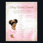 """Ethnic Princess Tutu Girl Baby Shower Games Flyer<br><div class=""""desc"""">Ethnic princess baby shower games with baby word scramble on one side, and nursery rhyme quiz on the other. This adorable pink and gold princess girl baby shower game flyer is fun and economical! You can choose the size and paper style and you can add your own words and rhymes....</div>"""