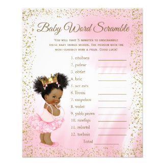 Ethnic Princess Tutu Girl Baby Shower Games Flyer