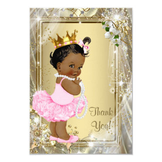 Ethnic Princess Tutu Pearls Baby Shower Thank You Card
