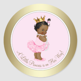 Ethnic Princess Tutu Pearls Pink Gold Baby Shower Classic Round Sticker