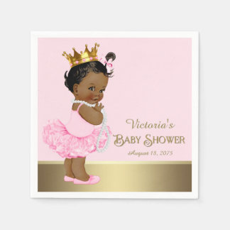 Ethnic Princess Tutu Pearls Pink Gold Baby Shower Paper Napkin