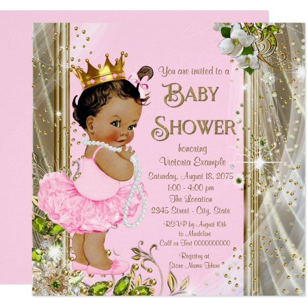 ethnic princess tutu pink gold baby shower card  zazzle, Baby shower