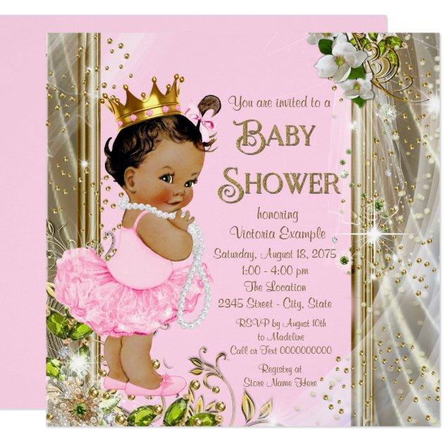 Ethnic Princess Tutu Pink Gold Baby Shower Card Zazzle