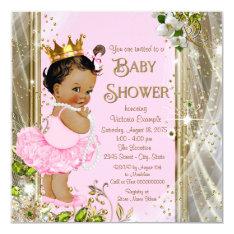 Ethnic Princess Tutu Pink Gold Baby Shower Card at Zazzle