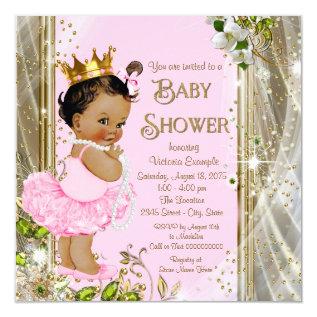 Ethnic Princess Tutu Pink Gold Baby Shower Card at Zazzle