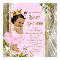 Princess baby shower invitations announcements zazzle ethnic princess tutu pink gold baby shower filmwisefo