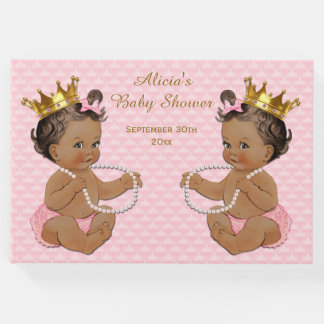 Ethnic Princess Twins Pink Baby Shower Guest Book