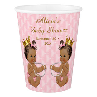 Ethnic Princess Twins Pink Quilted Baby Shower Paper Cup