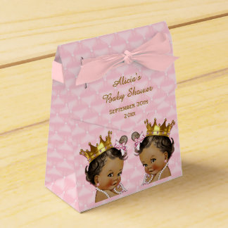 Ethnic Princess Twins Quilted Pink Baby Shower Favor Box