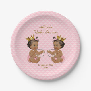 Ethnic Princess Twins Quilted Pink Baby Shower Paper Plate at Zazzle