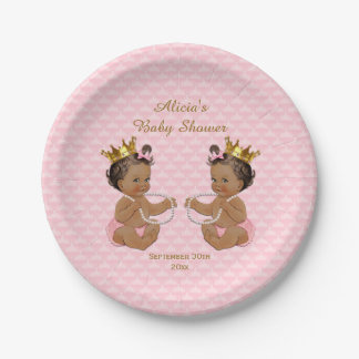 Ethnic Princess Twins Quilted Pink Baby Shower Paper Plate