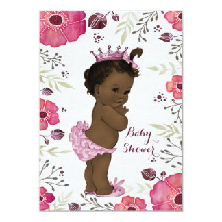 Ethnic Princess Watercolor Poppies Baby Shower 5x7 Paper Invitation Card