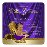 Ethnic Purple Ballerina Gold Shoe Baby Shower Card