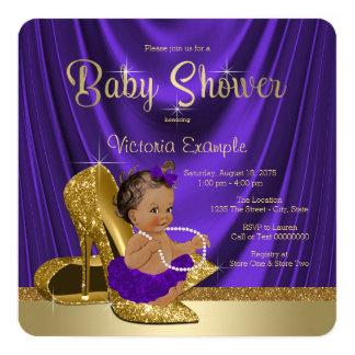 Ethnic Purple Ballerina Gold Shoe Baby Shower Card