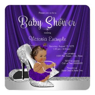 Ethnic Purple Ballerina Silver Shoe Baby Shower Card