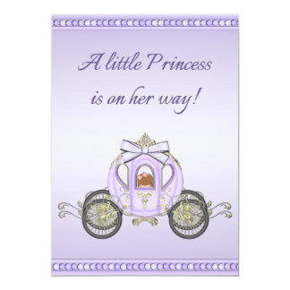 Ethnic Purple Princess Coach Girls Baby Shower 5x7 Paper Invitation Card