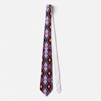 Ethnic rhombus Andes design crimson and purple Neck Tie