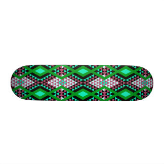 Ethnic rhombus Andes design green and cerise Skateboard Deck