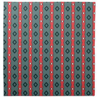 Ethnic ribbons and diamonds, red on dark cyan cloth napkin