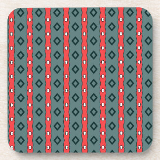 Ethnic ribbons and diamonds, red on dark cyan coaster