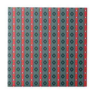 Ethnic ribbons and diamonds, red on dark cyan small square tile