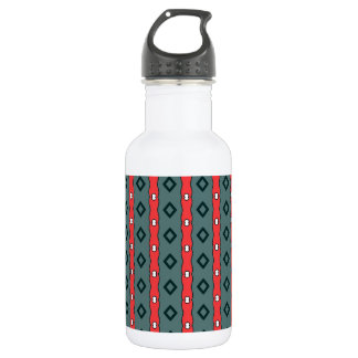Ethnic ribbons and diamonds, red on dark cyan water bottle
