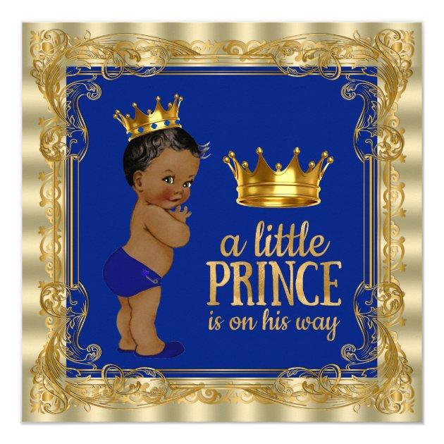 Ethnic Royal Blue Gold Royal Prince Baby Shower Invitation ...