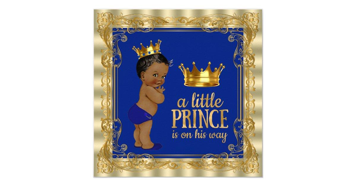 ethnic royal blue gold royal prince baby shower invitation zazzle