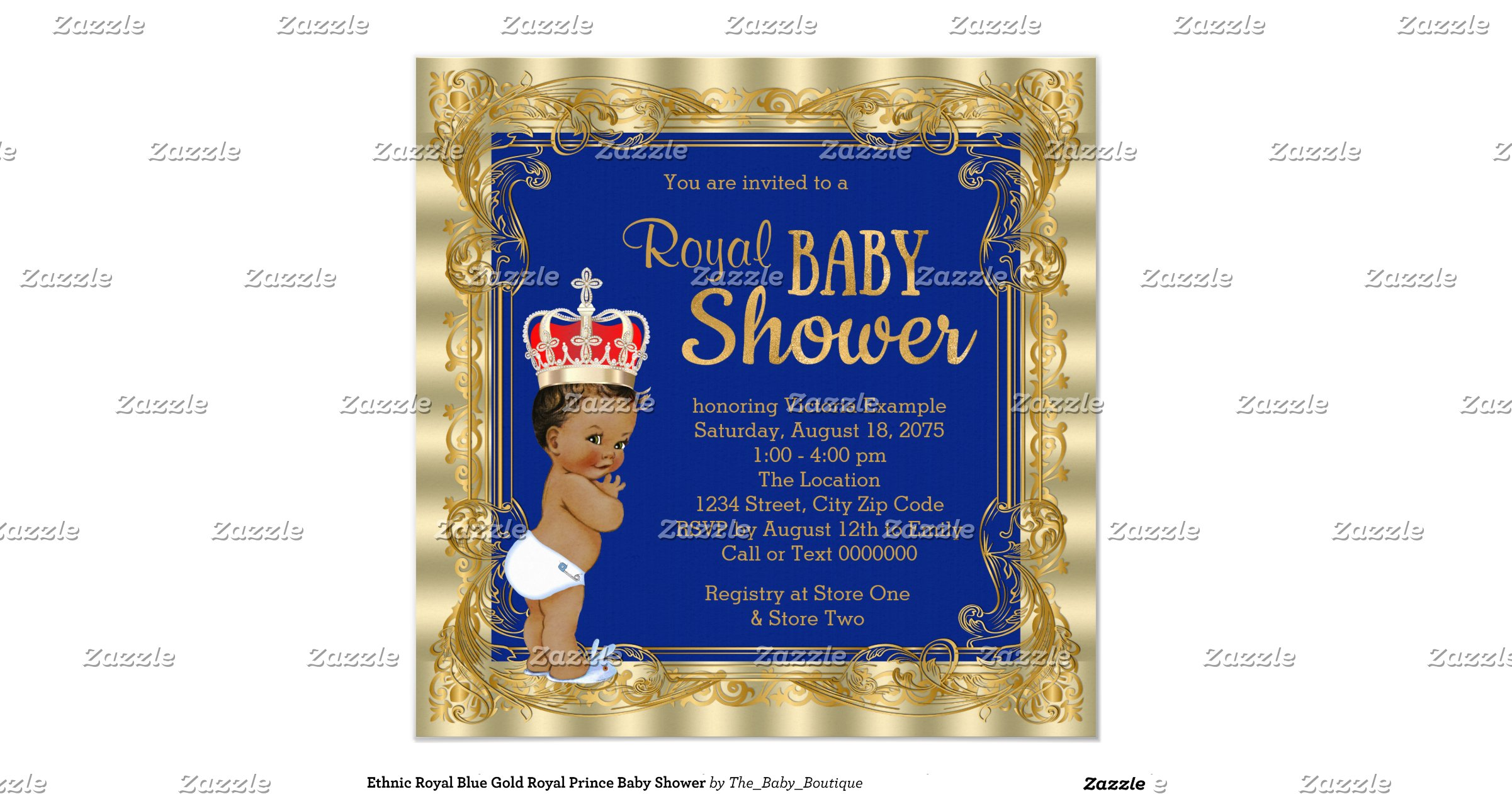 ethnic royal blue gold royal prince baby shower invitation