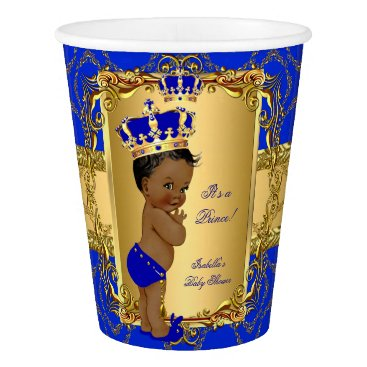 Toddler & Baby themed Ethnic Royal Blue Prince Crown Baby Shower Paper Cup