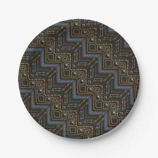 Ethnic seamless tribal boho pattern paper plate