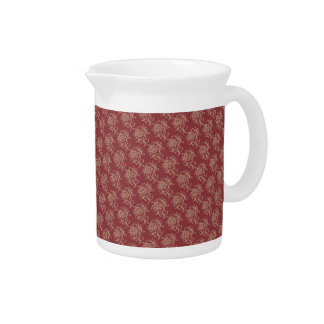 Ethnic Style Floral Mini-print Beige on Maroon Beverage Pitcher