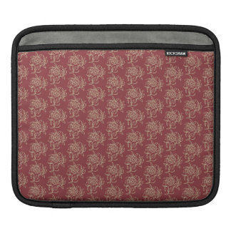 Ethnic Style Floral Mini-print Beige on Maroon Sleeve For iPads