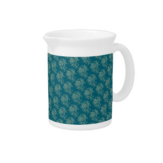 Ethnic Style Floral Mini-print Beige on Teal Pitcher