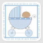 Ethnic Sweet Baby Boy in Carriage Baby Shower Blue Square Stickers