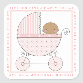 Ethnic Sweet Baby Girl Carriage Baby Shower Pink Square Sticker