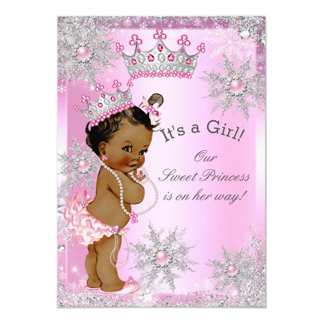 Ethnic Sweet Princess Baby Shower Wonderland Pink Card | Zazzle